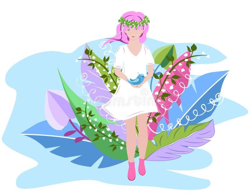 一件白色礼服的逗人喜爱的春天女孩有在她的头的一个花圈的在春天花之前围拢 超现实的抽象花 库存例证