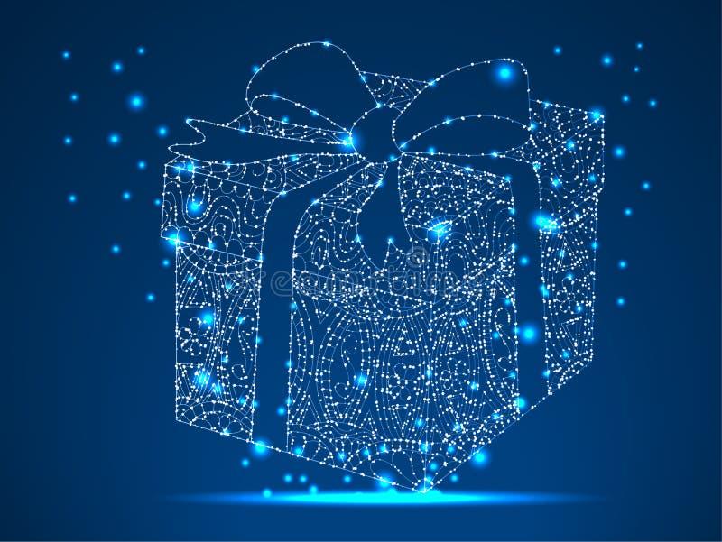 一件礼物为圣尼古拉斯天,情人节 摘要多角形在与星的蓝色背景与破坏形状 库存例证