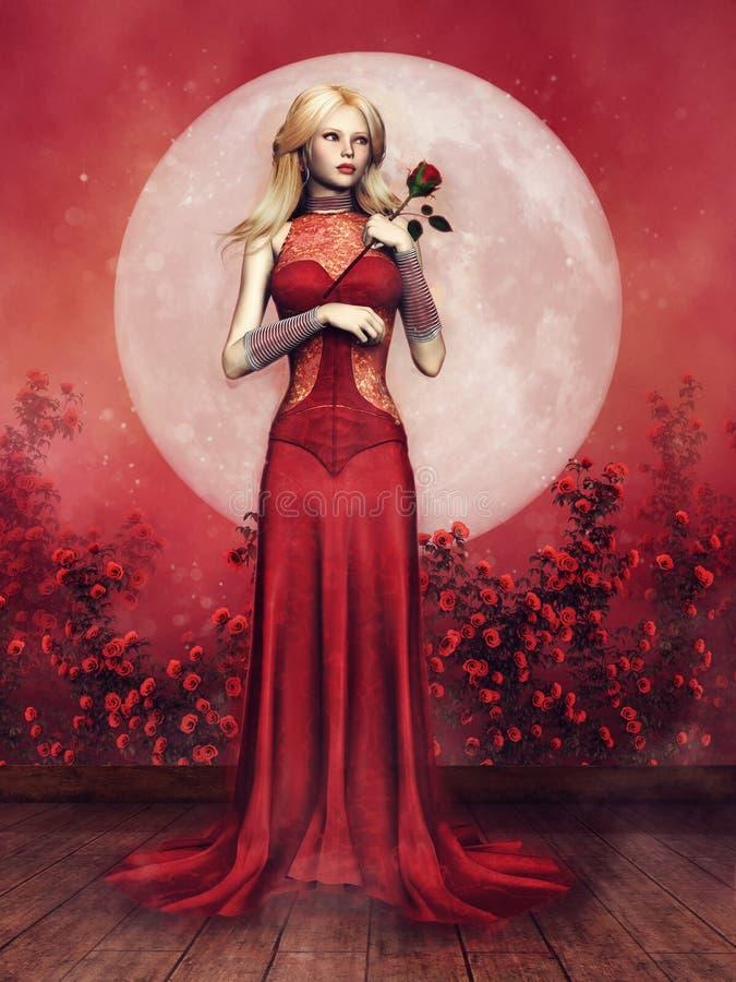 一件红色礼服的女孩 库存例证