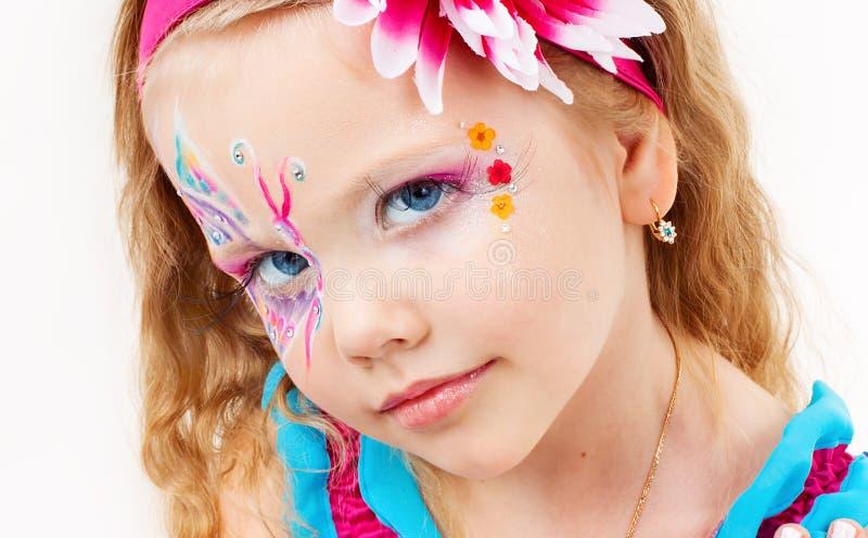 一件红色礼服的美丽的女孩 图库摄影