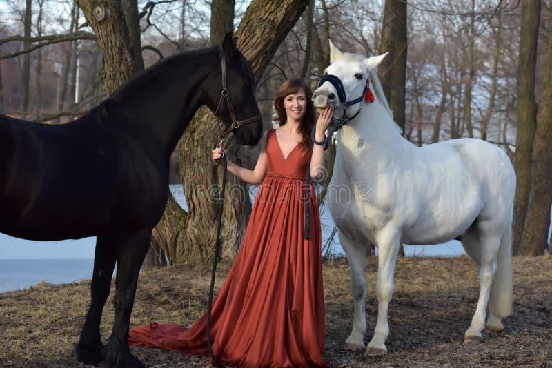 一件红色长的礼服的妇女有两匹马的 免版税库存照片
