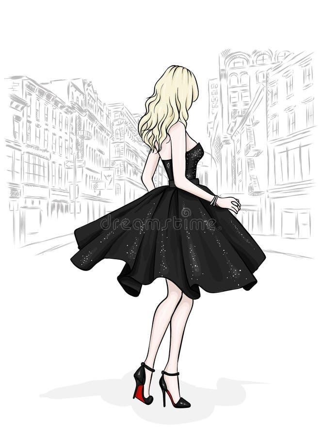 一件美丽的晚礼服的一个高,苗条女孩 时尚&样式 也corel凹道例证向量 皇族释放例证