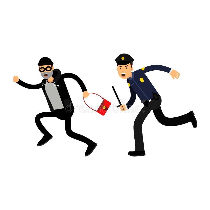 一件蓝色制服的警察有追逐有被窃取的袋子的,五颜六色的字符例证的警棍的一位窃贼 皇族释放例证
