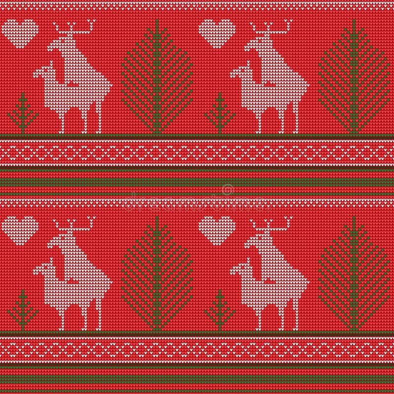 一件被编织的毛线衣的无缝的样式,驯鹿爱,冷杉,心脏,幽默 打印,纺织品纸 o 库存例证