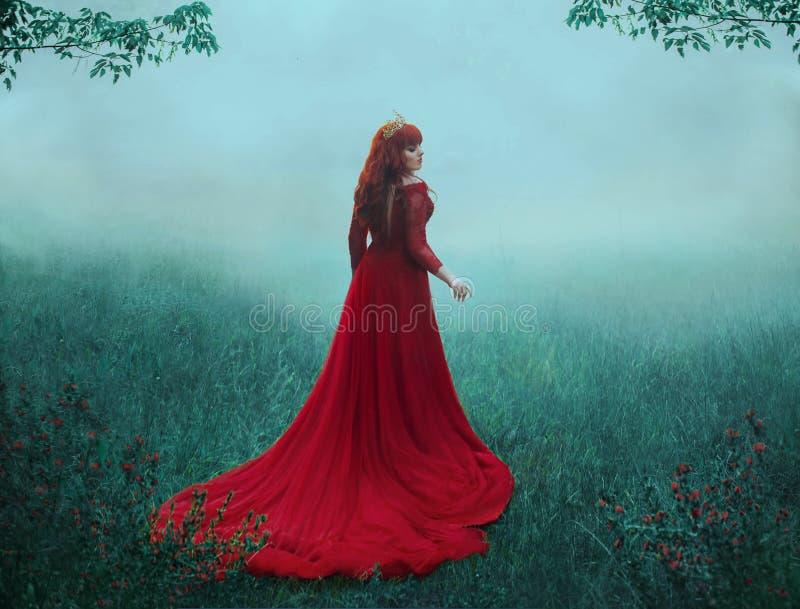 一件豪华,昂贵,红色礼服的女王/王后,在与一列长的火车的大雾走 金黄的一个年轻头发的女孩 免版税库存照片