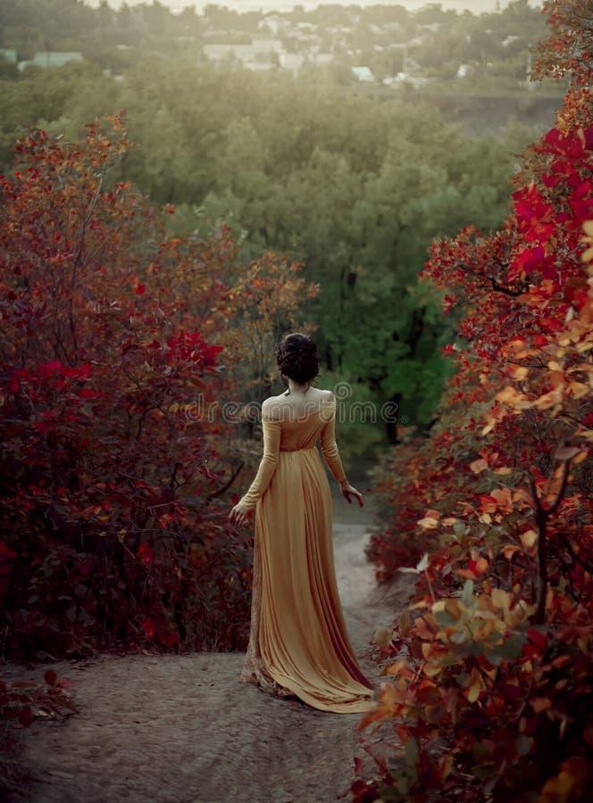 一件黄色葡萄酒礼服的公主在新生沿美丽如画的秋天小山走在黄昏 浅黑肤色的男人的照片 库存图片