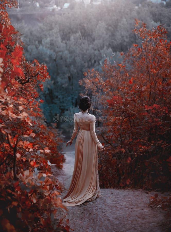 一件黄色葡萄酒礼服的公主在新生沿美丽如画的秋天小山走在黄昏 照片 库存照片