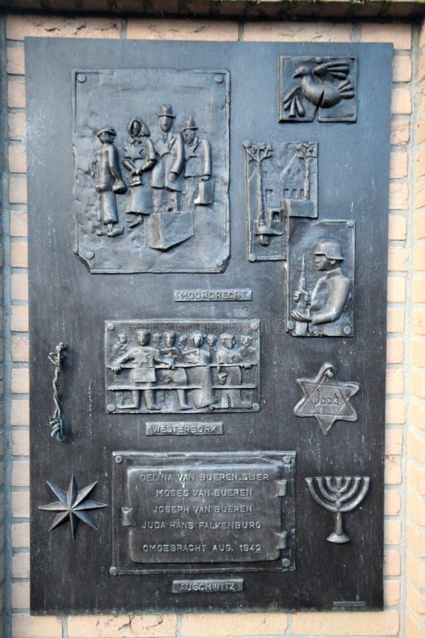 一份纪念品在Moordrecht小村庄大约在1942年在拿走以后死的四名犹太居民 免版税库存照片