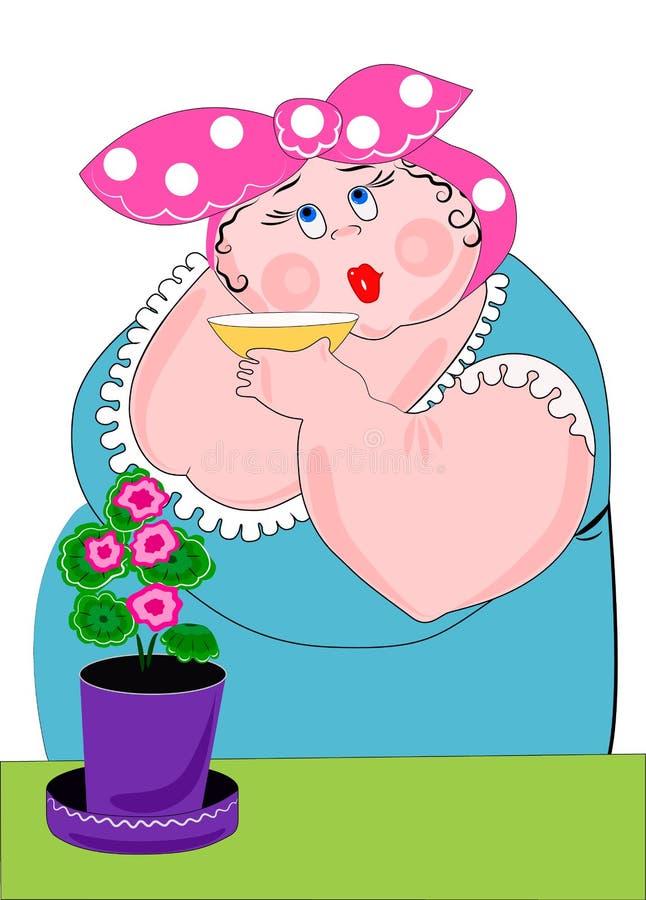 一份肥胖,滑稽,美女饮用的茶或咖啡 大竺葵花 ?? 向量例证