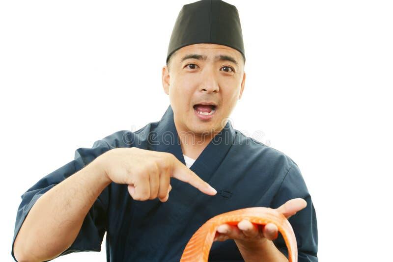 一位亚裔厨师的画象 图库摄影