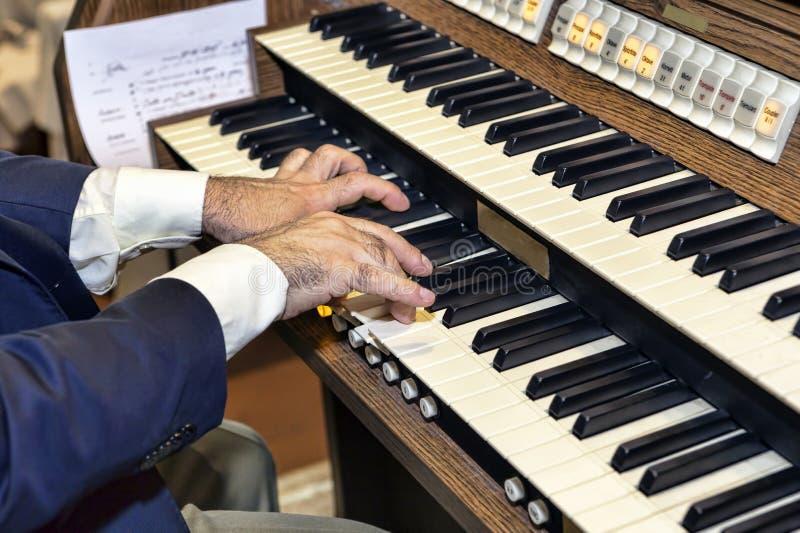 一位典雅的音乐家播放器官 图库摄影