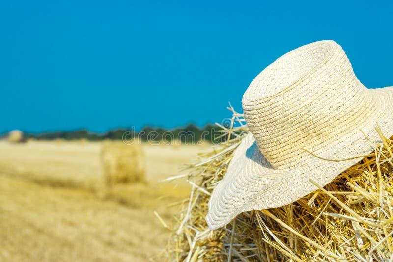 一位农夫的运转的帽子干草堆的 农业comcept 收获概念 库存图片