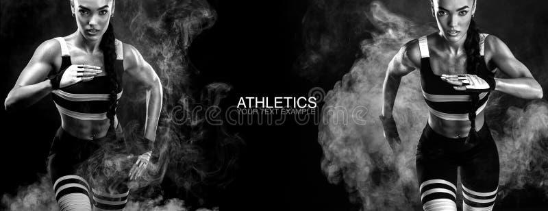 一位坚强的运动,女性短跑选手,跑在佩带在运动服、健身和体育刺激概念的日出 免版税库存照片