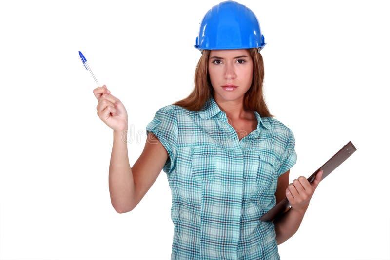 一位女性工头。 免版税图库摄影