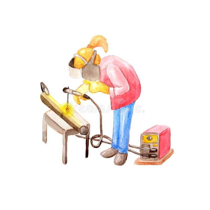 一位女性焊工的水彩例证焊接了一个管子在一件防护盔甲和有的  向量例证