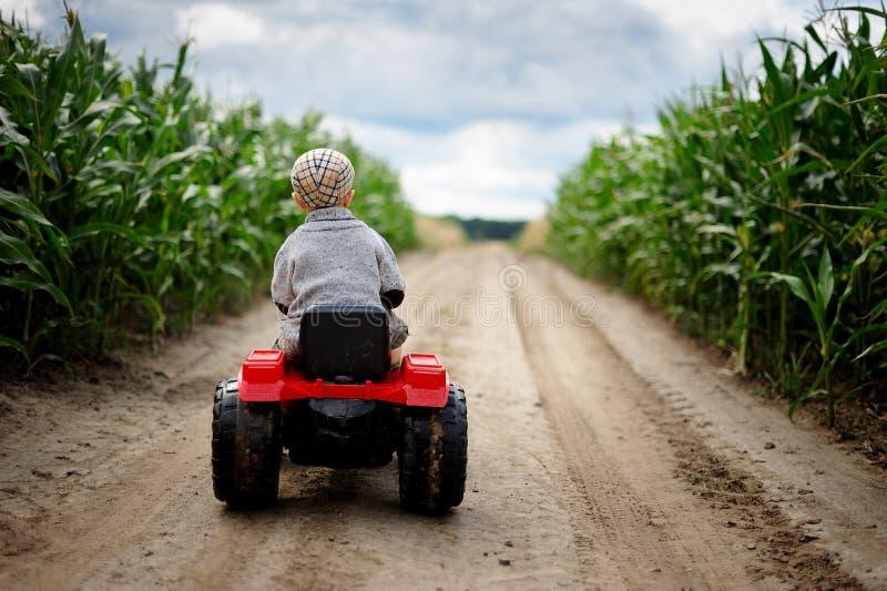 一位小男孩农夫通过玉米田驾驶在土路的一台小拖拉机 免版税图库摄影