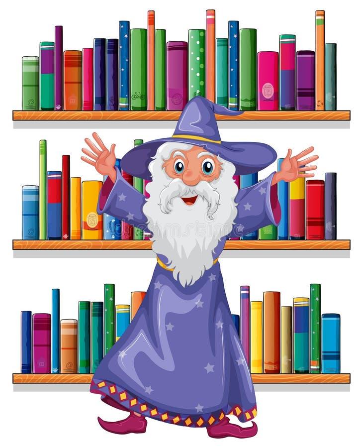 一位巫术师在图书馆里 皇族释放例证