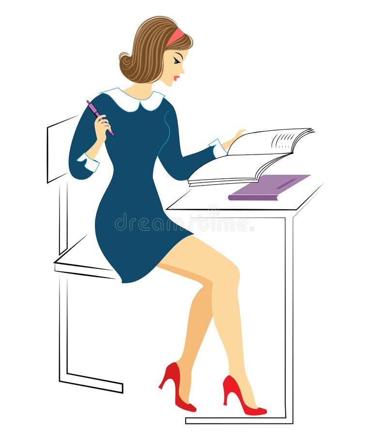 一位年轻女小学生坐在书桌 女孩在笔记本做家庭作业,写 夫人是非常好的 r 皇族释放例证