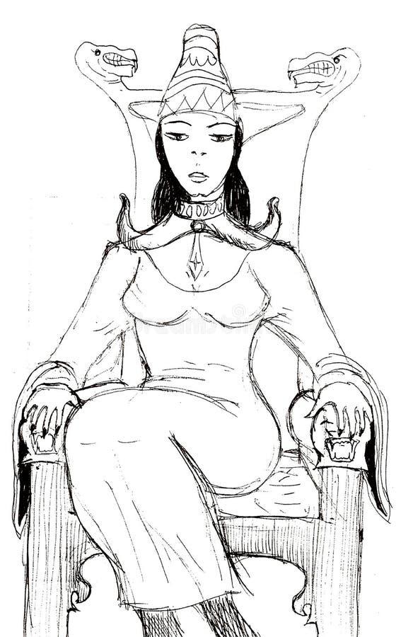 一位年轻女王/王后坐木王位 库存例证