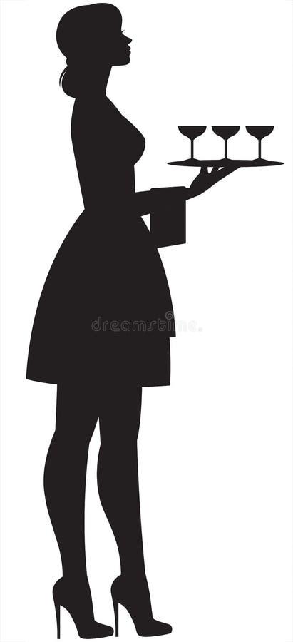 一位年轻美丽的苗条女服务员的剪影戴在手中盘子和眼镜的 库存例证