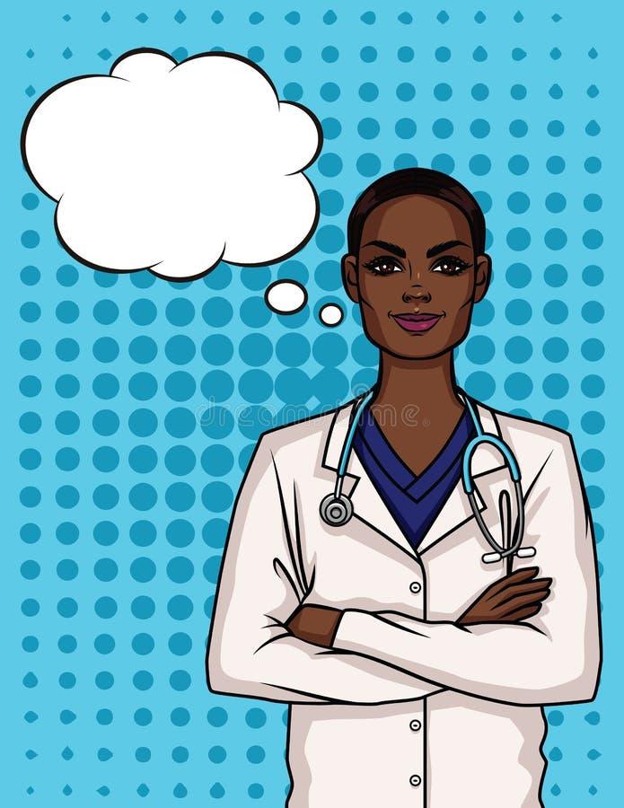 一位年轻美国黑人的女性医生的画象制服的 皇族释放例证