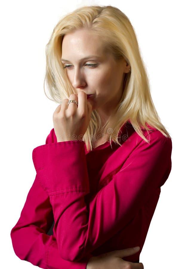 一位幼小白肤金发的女性执行委员 免版税库存图片