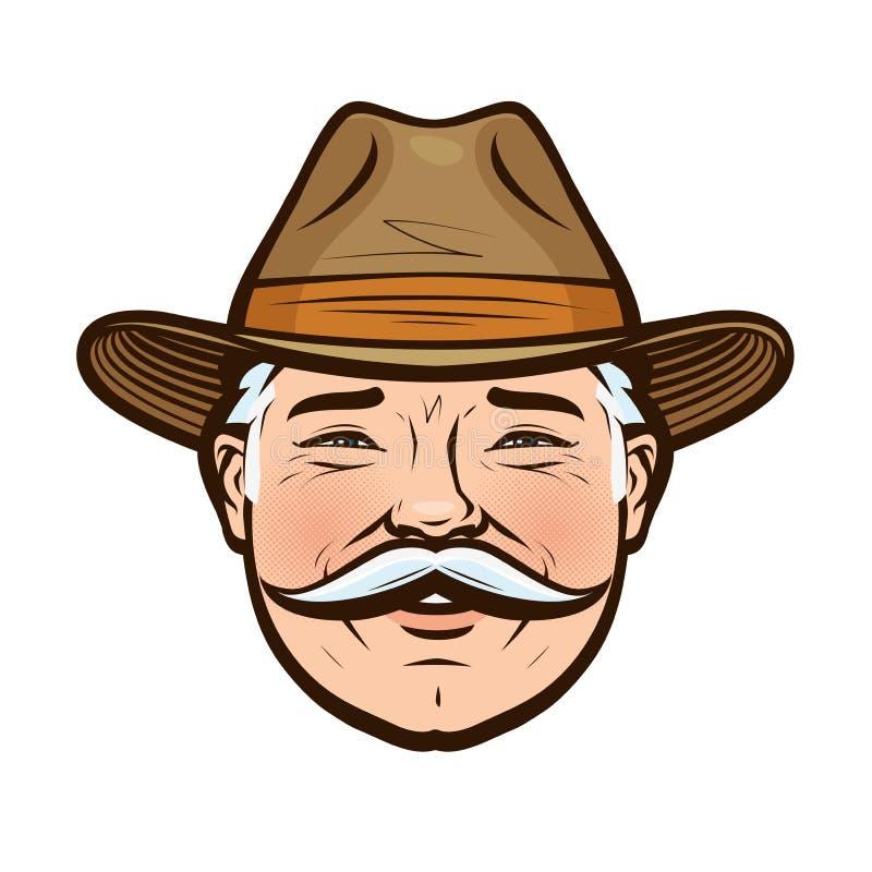 农夫卡通画_一位微笑的农夫的画象帽子的 也corel凹道例证向量.