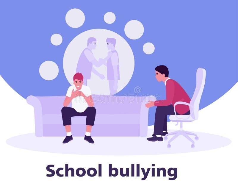 一位心理学家的招待会的少年关于学校持强欺弱者的 少年暴力概念 在a的传染媒介例证 向量例证