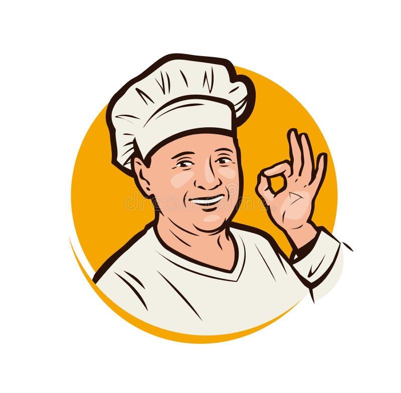 一位快乐的女厨师的画像 餐厅、面包店徽标或徽 矢量图 库存例证
