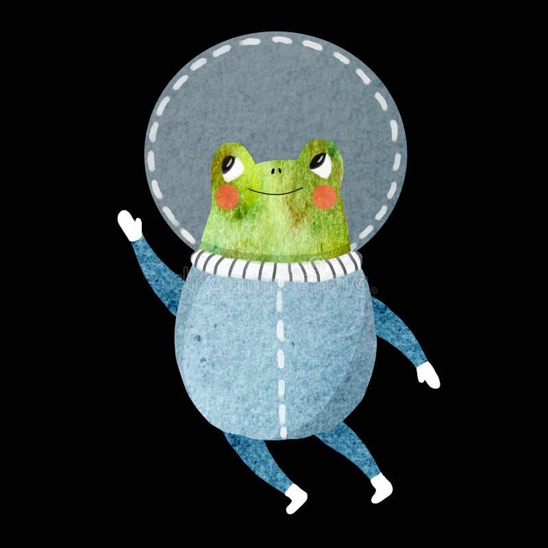 一位快乐的宇航员的儿童的例证 向量例证