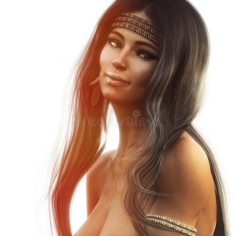 一位惊人的露胸部的美国本地人女性的画象有长的褐色的结霜了头戴传统头饰的头发 向量例证