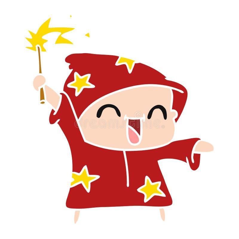 一位愉快的矮小的巫术师的动画片 库存例证