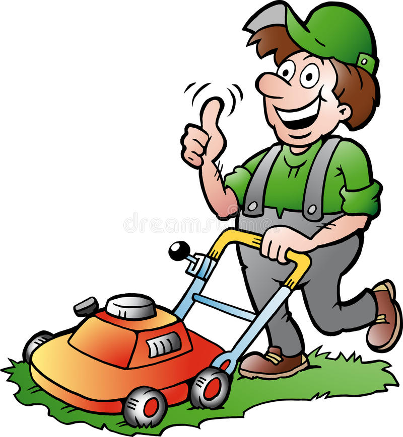 一位愉快的花匠的例证有他的lawnmow的