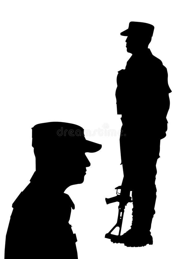 一位战士的剪影两个位置的 免版税库存照片