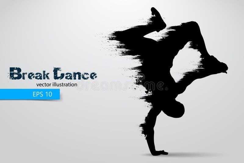 一位断裂舞蹈家的剪影从微粒的 也corel凹道例证向量 皇族释放例证