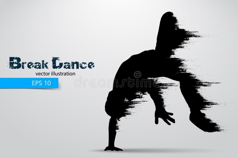 一位断裂舞蹈家的剪影从微粒的 也corel凹道例证向量 库存例证