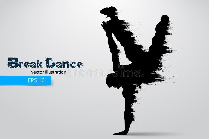 一位断裂舞蹈家的剪影从微粒的 也corel凹道例证向量 向量例证