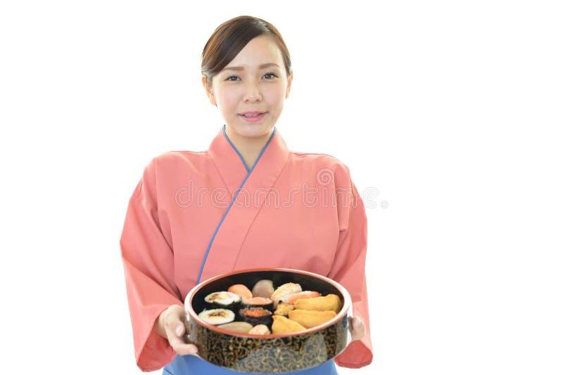 一位日本餐馆女服务员 免版税库存图片