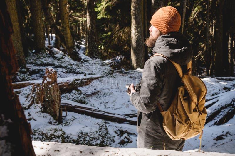 一位有胡子的摄影师的画象有一台反光照相机的在他的在冬天具球果森林照片旅行的手上 图库摄影