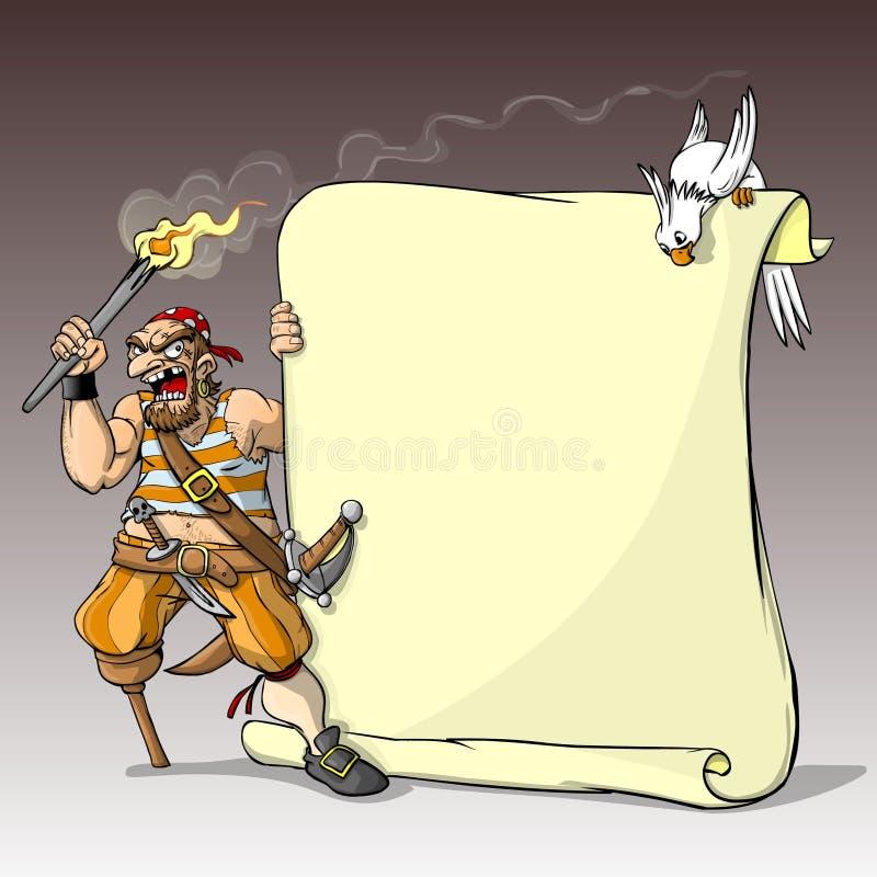 一位海盗和与横幅的一只鹦鹉 库存例证