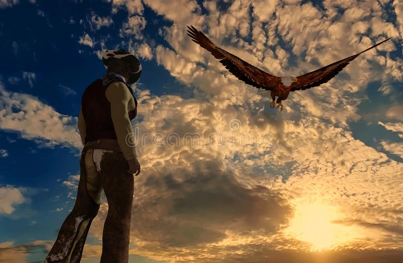 一位牛仔的例证日落背景的与老鹰 向量例证