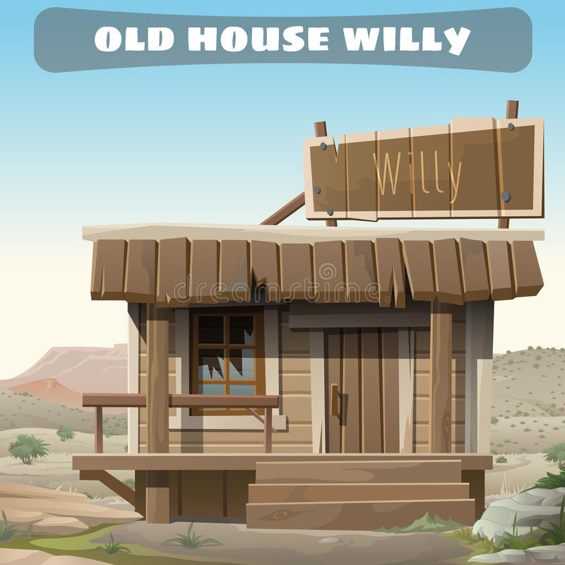 一位牛仔的老被放弃的房子狂放的西部的 库存例证