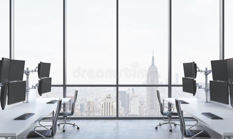 一位现代贸易商的工作场所在一个明亮的现代露天场所办公室 用现代贸易商的驻地和黑c装备的白色桌 向量例证
