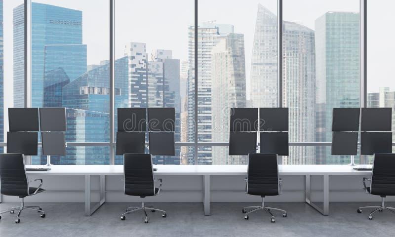 一位现代贸易商的工作场所在一个明亮的现代露天场所办公室 用现代贸易商的驻地和黑c装备的白色桌 皇族释放例证
