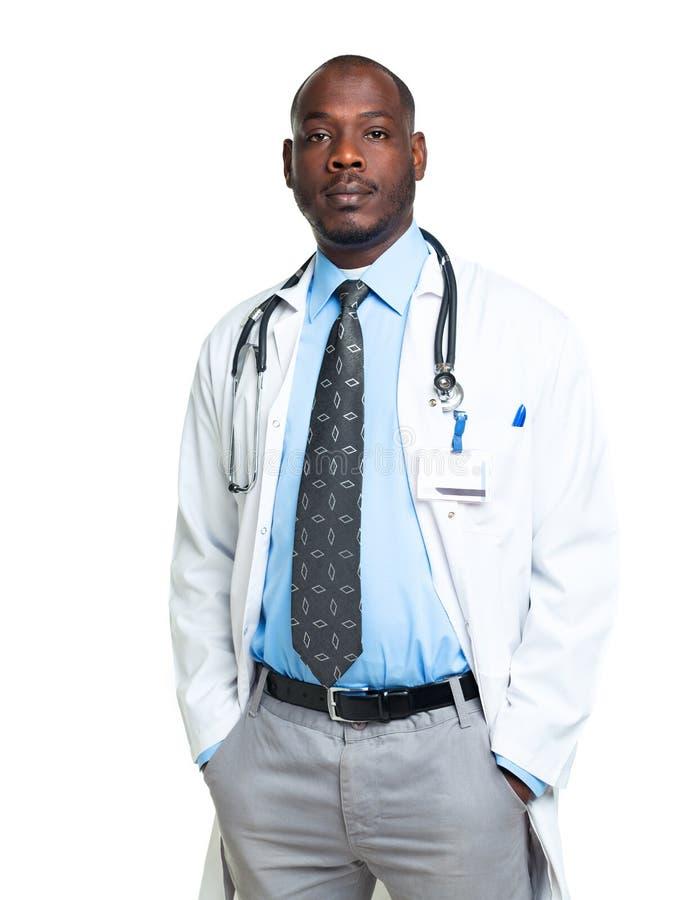 一位男性医生的画象白色的 免版税库存图片