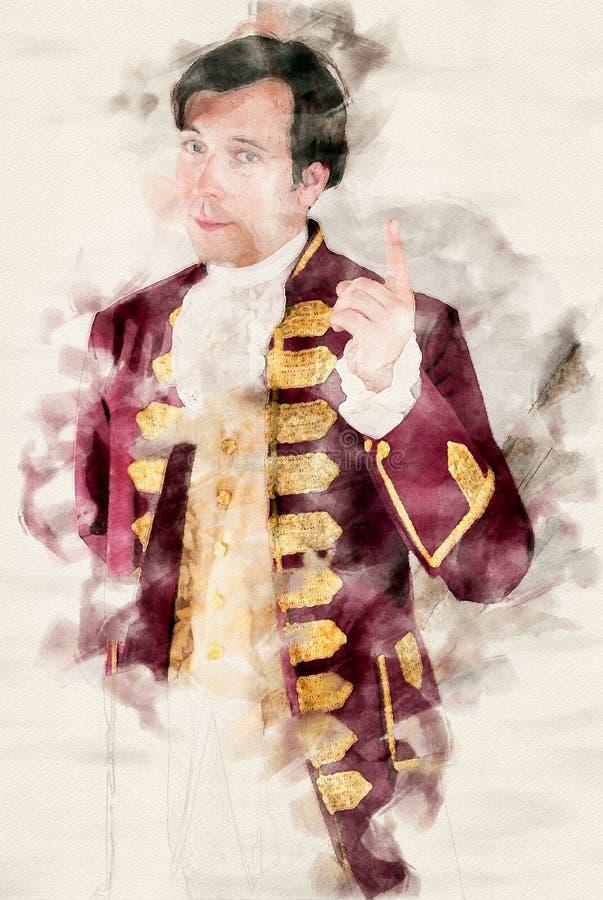 一位男管家的画象一件历史的老长袍的 皇族释放例证