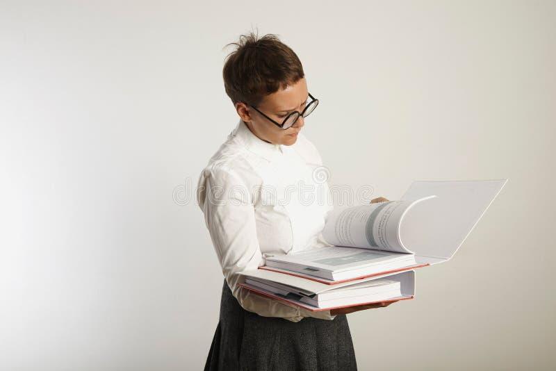 一位疲乏的老师的画象有黏合剂的 免版税图库摄影