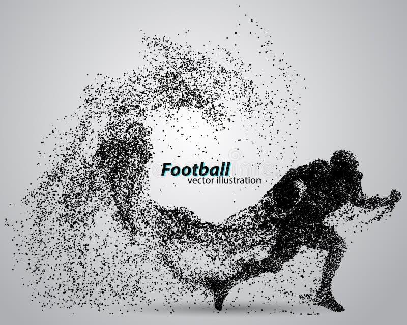 一位足球运动员的剪影从微粒的 橄榄球 美国足球运动员 皇族释放例证