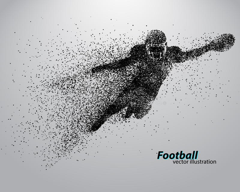 一位足球运动员的剪影从微粒的 橄榄球 美国足球运动员 库存例证