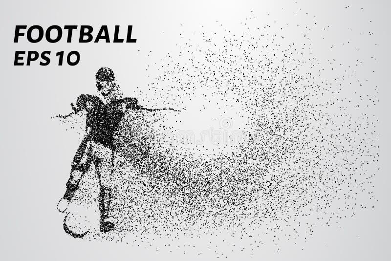 一位足球运动员的剪影从微粒的 球员包括小圈子 也corel凹道例证向量 皇族释放例证